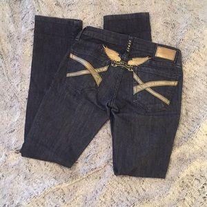 🔥Robin's Jean gold trim dark wash jeans🔥 Sz 26